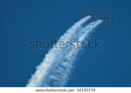 WASHINGTON DC, ANDREWS AFB- MAY 15: US Navy Demonstration Squadron Blue angels, flying on Boeing F/A-18 showing precision of flying and the highest level of pilot skills on May 15, 2010 in Washington DC. - stock photo