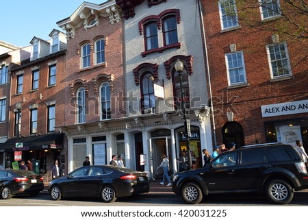 WASHINGTON, DC - APR 16: Georgetown University in Washington, DC, as seen on Apr 16, 2016.  Founded in 1789, it is the oldest Catholic and Jesuit institution of higher education in the United States. - stock photo