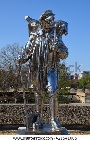 WASHINGTON, DC - APR 16: Kiepenkerl sculpture by Jeff Koons at the Hirshhorn Sculpture Garden in Washington, DC, on April 16, 2016. In 2013, the Sculpture Garden drew 645,000 visitors. - stock photo