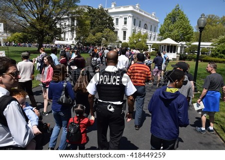 WASHINGTON, DC - APR 17: The White House in Washington, DC, as seen on April 17, 2016. It is the official residence and principal workplace of the President of the United States. - stock photo