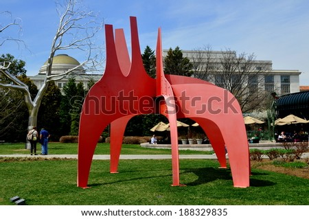 Washington, DC- April 11, 2014:  Alexander Calder sculpture in the National Gallery of Art Sculpture Garden - stock photo