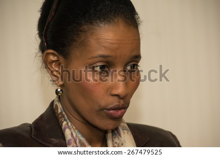 WASHINGTON, DC - APRIL 7, 2015: Author and critic of radical Islam Ayaan Hirsi Ali speaks to a luncheon at the National Press Club.