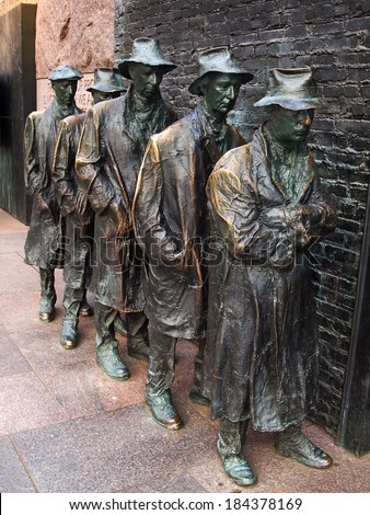 WASHINGTON, DC - April 12, 2013: Closeup of George Segal's Breadline sculpture at the Franklin Delano Roosevelt Memorial, honoring social programs implemented by the 32nd president of the USA. - stock photo