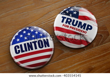 WASHINGTON, DC - APRIL 10, 2016: Illustration of presidential campaign buttons of Hillary Clinton and Donald Trump running for the president's office. - stock photo