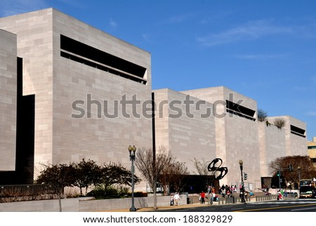 Washington, DC - April 11, 2014:  Independence Avenue facade of the National Air and Space Museum - stock photo