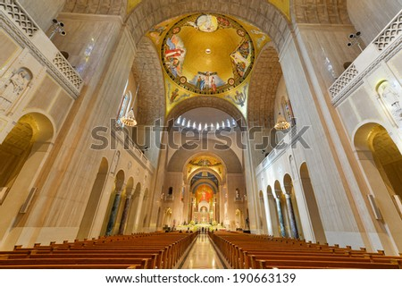 WASHINGTON, DC - APRIL 20, 2014: Interior details of Basilica of the National Shrine of the immaculate Conception. The Basilica is the largest Roman Catholic church in the US and North America. - stock photo