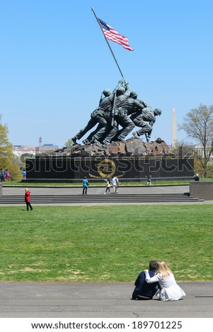 WASHINGTON, DC - APRIL 25, 2014: Iwo Jima Memorial in Washington, DC. The Memorial honors the Marines who have died defending the US since 1775 and a prominent tourist attraction in Washington DC.  - stock photo
