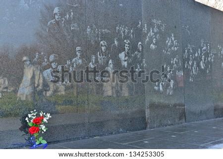 WASHINGTON DC - APRIL 1, 2013: Korean War Memorial at Washington Mall in Washington DC on April 1st, 2013. The memorial represent squad on patrol in the Korean War. - stock photo