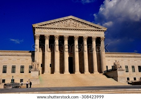 Washington, DC - April 9, 2014:  Neo-classical west front of the United States Supreme Court on First Street SE  *