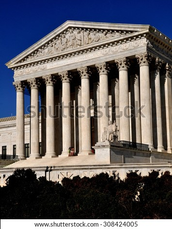 Washington, DC - April 12, 2014: The Greek-inspired neo-classical west front of the United States Supreme Court completed in 1935