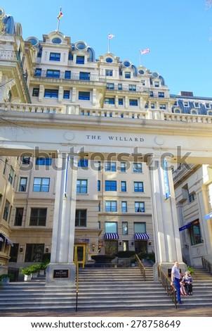 Washington, DC - April 11, 2015: The legendary five-star luxury Willard Hotel on Pennsylvania Avenue - stock photo