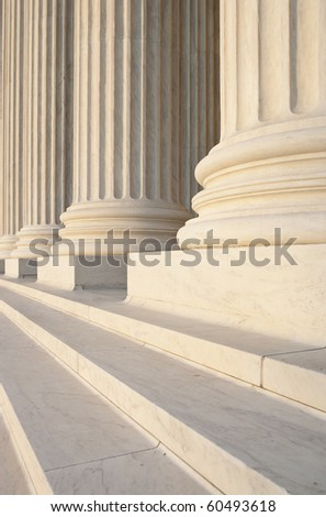 Washington DC Architectural detail of columns and marble steps. Critical focus on middle column. - stock photo