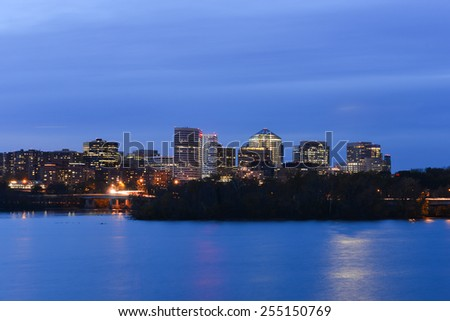 Washington DC - Arlington and Potomac river at night - stock photo