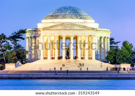 Washington, DC at the Tidal Basin and Jefferson Memorial. - stock photo