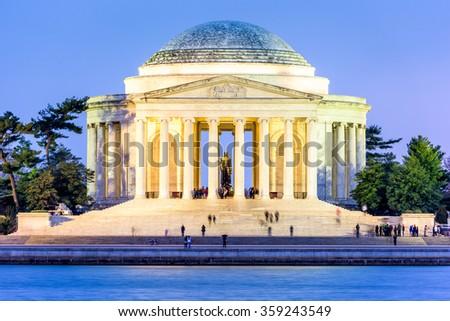 Washington, DC at the Tidal Basin and Jefferson Memorial. - stock photo