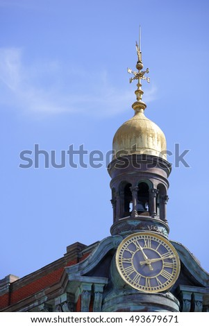 WASHINGTON DC - AUGUST 21: Image of the Suntrust Bank Building Clock Tower containing a bell and compass August 21, 2016 in Washington DC, USA