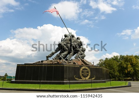 WASHINGTON DC - AUGUST 20: Iwo Jima statue in Washington DC on August 20, 2012. The statue honors the Marines who have died defending the US since 1775. - stock photo