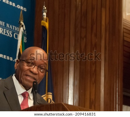 WASHINGTON, DC - AUGUST 4, 2014 - Jacob Zuma, President of South Africa, speaks to a luncheon at the National Press Club - stock photo