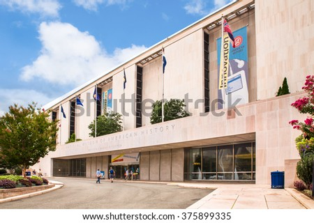 WASHINGTON, DC - AUGUST 9, 2015:  Pictured here is an exterior view of historic Smithsonian National Museum of American History. - stock photo