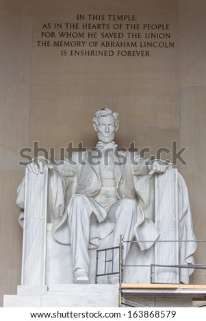 WASHINGTON, DC - AUGUST 13: The Lincoln Memorial in Washington, DC on August 13, 2013. This American national monument commemorates the life of the 16th President of the United States, Abraham Lincoln