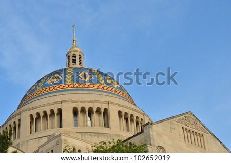 Washington DC -Basilica of the National Shrine Catholic Church - Dome detail - stock photo