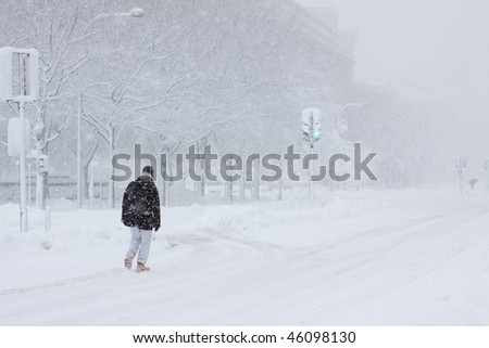 Washington, DC blizzard - stock photo