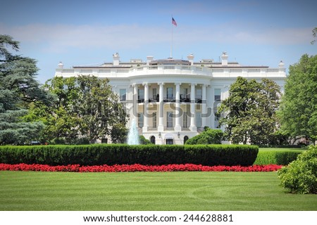 Washington DC, capital city of the United States. White House building. Presidential office. - stock photo