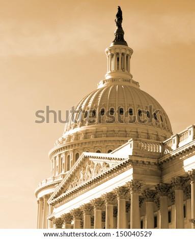 Washington DC , Capitol Building - detail, US, sephia - stock photo