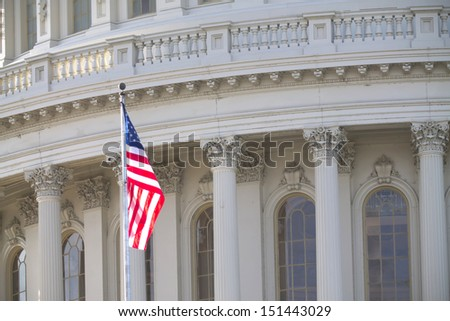 Washington DC , Capitol Building with American Flag  - stock photo