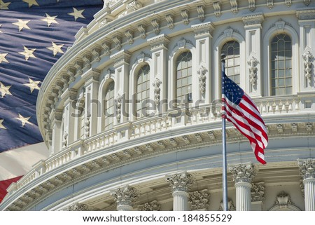 Washington DC Capitol dome detail on american flag background - stock photo