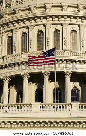 Washington DC , Capitol Dome with American flag - close up detail, USA