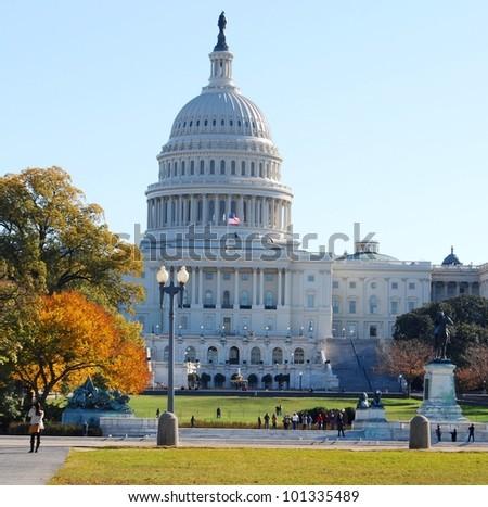 Washington DC Capitol in the Fall Season , USA - stock photo