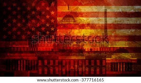 Washington DC Capitol White House USA Flag Silhouette with Grunge Texture Background Illustration - stock photo