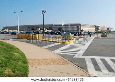 WASHINGTON DC - CIRCA JUNE 2009: Pentagon building circa June 2009 in Washington DC, USA. The Pentagon is the world's largest office building by floor area, with about 6,500,000 sq ft. - stock photo