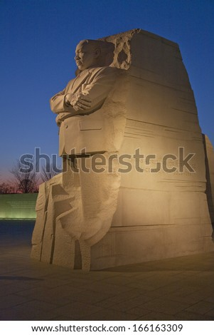 WASHINGTON, DC - CIRCA 2013:The Martin Luther King Jr. Memorial, a monument to civil rights leader. Located in Washington, D.C., the memorial is the 395th National Park, and is located on the National Mall on the Tidal Basin.  - stock photo