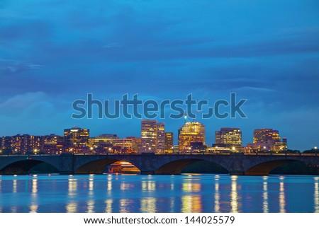 Washington, DC cityscape at the night time - stock photo