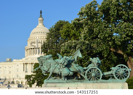 Washington DC - Civil War Memorial Statue in front o the US Capitol Building  - stock photo