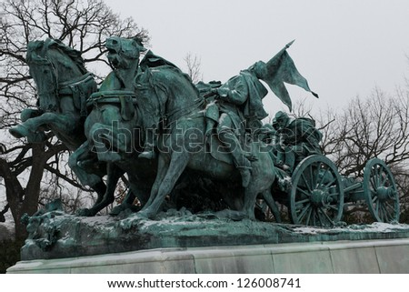 Washington DC - Civil War Memorial Statue in front o the US Capitol Building in winter - stock photo