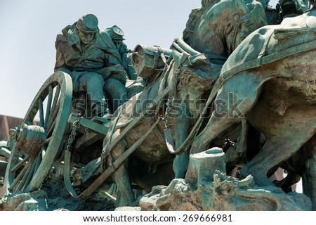 Washington DC - Civil War Memorial Statue near the Ulysses S. Grant Memorial in front o the US Capitol Building - stock photo