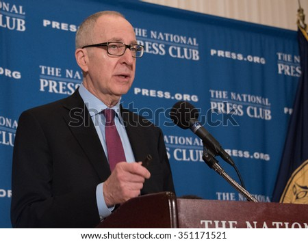 WASHINGTON, DC -DECEMBER 8, 2015: David Skorton, new head of the Smithsonian Institution, speaks to a National Press Club luncheon - stock photo
