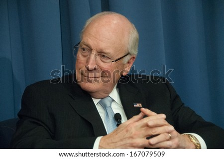 WASHINGTON, DC - DECEMBER 3: Former U.S. Vice President Dick Cheney speaks at the National Press Club, December 3, 2013 in Washington, DC - stock photo