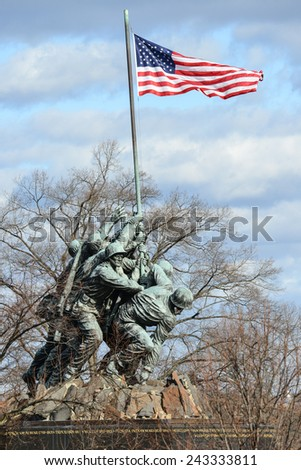 WASHINGTON, DC - DECEMBER 26, 2014: Iwo Jima Memorial in Washington, DC. The Memorial honors the Marines who have died defending the US since 1775 and a prominent tourist attraction in Washington DC.  - stock photo