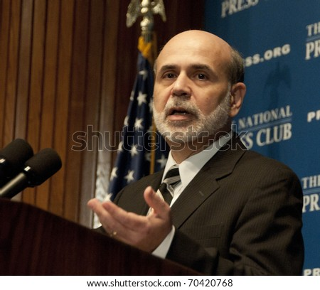 WASHINGTON, DC - FEBRUARY 3:  Chairman Ben Bernanke of the U.S. Federal Reserve speaks at the National Press Club, February 3, 2011 in Washington, DC - stock photo