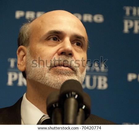 WASHINGTON, DC - FEBRUARY 3:  Chairman Ben Bernanke of the U.S. Federal Reserve speaks at the National Press Club, February 3, 2011 in Washington, DC - stock photo
