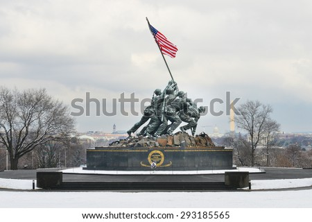 WASHINGTON, DC - FEBRUARY 26, 2014: Iwo Jima Memorial in Washington DC. The Memorial honors the Marines who have died defending the US since 1775 and a prominent tourist attraction in Washington DC.  - stock photo