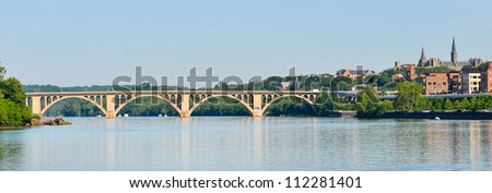 Washington DC - Francis Scott Key Bridge and Georgetown with Potomac River panoramic view - stock photo