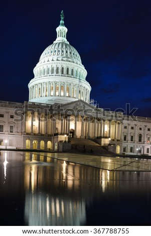 Washington DC in the night - US Capitol Building - stock photo