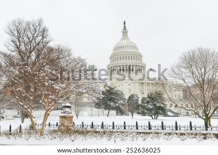 Washington DC in Winter - The Capitol in snow  - stock photo