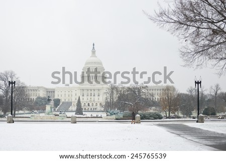 Washington DC in winter - US Capitol and snow - stock photo