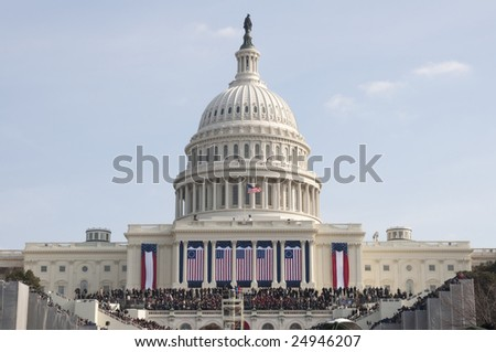 WASHINGTON, DC - JAN. 20: A record crowd at the U.S. Capitol watches the 2009 inauguration of President Barack Obama.